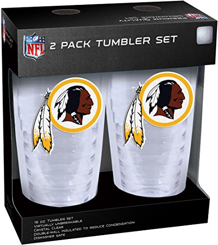 NFL Washington Redskins Slimline Tumber Set with Patch (2-Piece), 16-Ounce, Clear