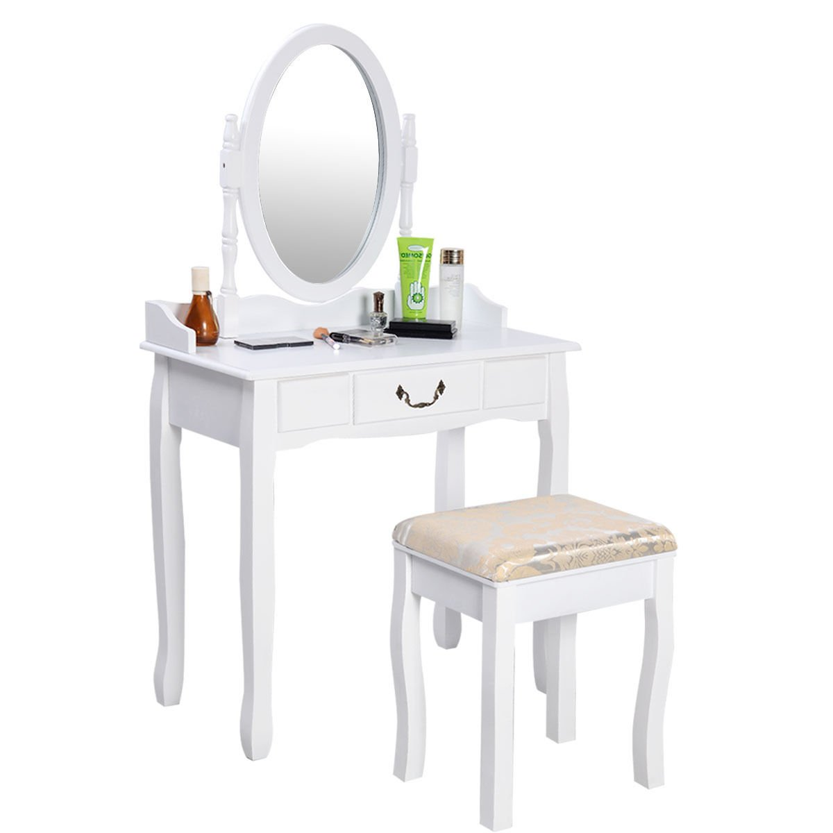 Giantex Vanity Table w/Cushioned Stool Bench Jewelry Makeup Dresser Desk w/ 1 Drawer Dressing Table and Stool Set Bedroom Bathroom Furniture 360° Spinning Round Mirror, White