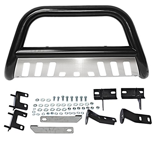 AUTOSAVER88 3″ Bull Bar for 09-17 Dodge Ram 1500 Front Brush Push Bumper Grill Guard Steel Tube With Skid Plate Light Mount SUS201+Q235A Black Silver
