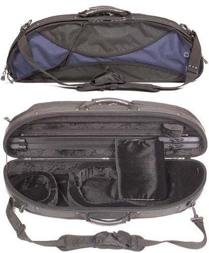 Gewa 307V Sports Style Half-Moon 4/4 Violin Case with Blue-Black Exterior and Black Interior
