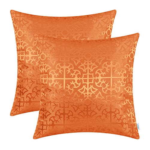 CaliTime Pack of 2 Throw Pillow Covers Cases for Couch Sofa Home Decor Vintage Shining & Dull Contrast Cross Flowers Trellis Geometric Figure 18 X 18 Inches Bright Orange