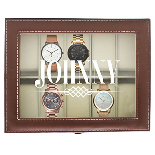 Engraved Watch Box for Men - Personalized Gifts for Him - Custom Husband Boyfriend Gift (Brown) by The Wedding Party Store