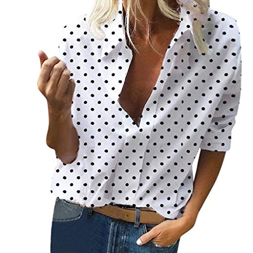 HIRIRI Women's Button Lapel V Neck Blouse Long Sleeves Polka Dots Loose Casual Summer Shirt Tops White