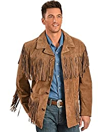 Men's Suede Fringe Jacket, Cinnamon