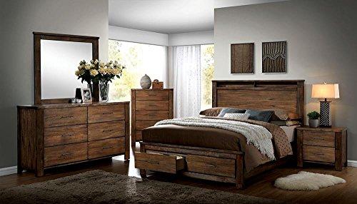 Bedroom FA Furnishing Blake Rustic Storage Platform Queen Bed – Oak Wood farmhouse beds and bed frames