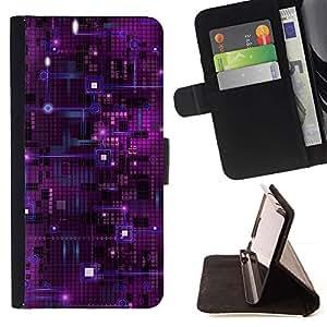 Momo Phone Case / Flip Funda de Cuero Case Cover - Chip Nanotecnología púrpura Espacio de Arte - Sony Xperia Z5 5.2 Inch (Not for Z5 Premium 5.5 Inch)