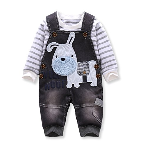 LvYinLi US Baby Boy Clothes Boys' Romper Jumpsuit Overalls Stripe Rompers Sets (3-8 months, Gray)