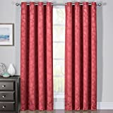 sheetsnthings Set of 2 Blackout Panels -FANNIE- (108″ W x 63″ L) Burgundy-Red Woven Jacquard, Triple Pass, Thermal Isulated Grommet Top Window Curtains
