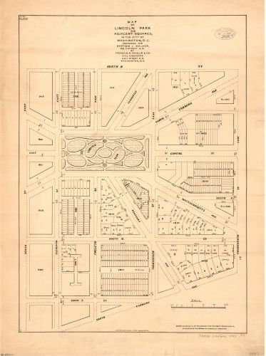 1890 Map of Lincoln Park and adjacent squares in the city of Washington, D.C. -