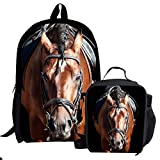 Ledback 3D Zoo Animal Lunch Bag for Children and Kids School Bag 16 Inch Backpack Horse Storage Bag Girls Durable Food Drink Container Bag with Insulated Lining Large Book Bag Rucksack