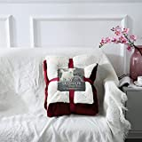 Spring fever Luxury Elegant Sherpa Cover Blanket Solid Durable and Cozy Warm for Bed/Couch/Sofa - Claret 80'' x 90''
