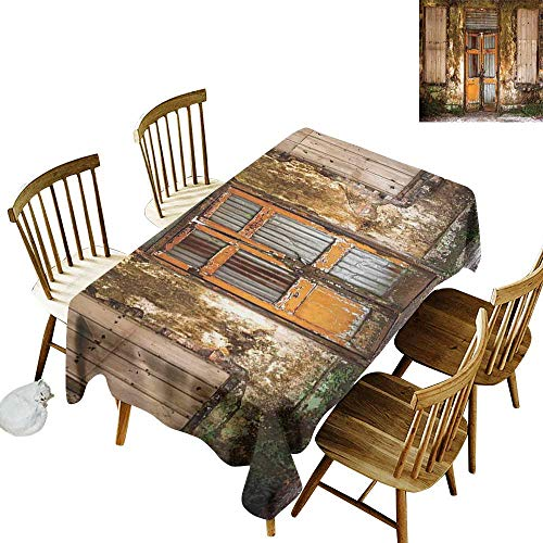kangkaishi Rustic Leakproof Polyester Long Tablecloth Outdoor and Indoor use Damaged Shabby House with Boarded Up and Rusty Doors and Moldy Windows Photography W14 x L108 Inch Multicolor