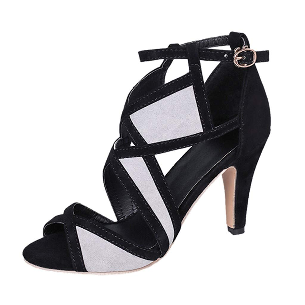 Heels Sandals Buckle Strap Mixed Colors