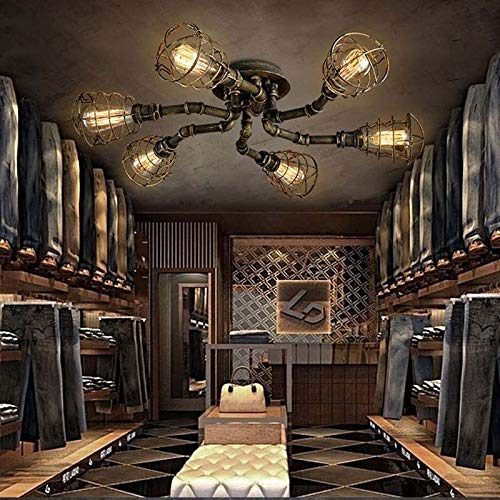 FidgetGear 6 Lights Rustic Industrial Cage Pipe Pendant Light Loft Chandelier Ceiling Lamp by FidgetGear (Image #4)