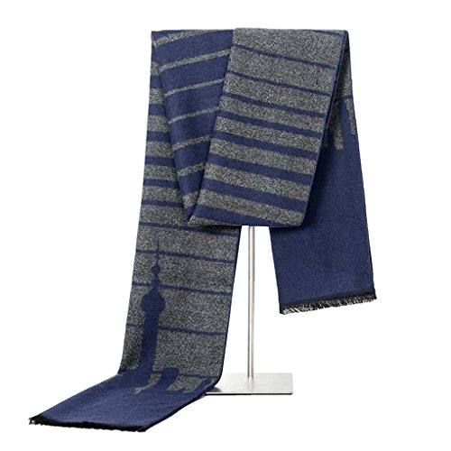 Men's Scarf Super Soft Luxurious Classic Cashmere Feel Paris Tower Spring Winter Scarf Shawls (color - Mall Tower Water