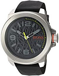 BOSS Orange Men's Quartz Stainless Steel and Silicone Casual Watch, Color:Grey (Model: 1513354)