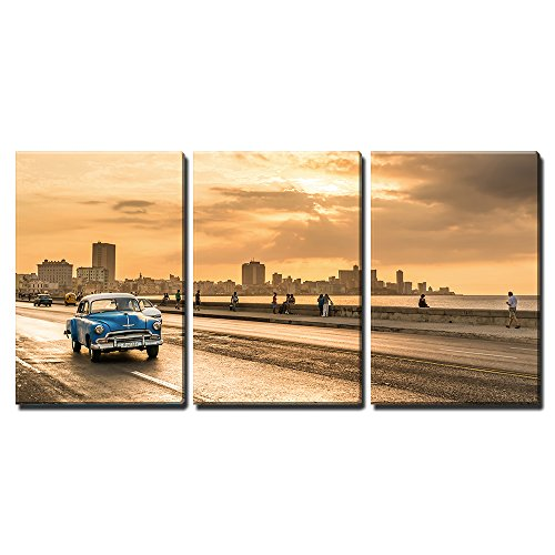 "wall26 - 3 Piece Canvas Wall Art - The Sun Setting Over The City of Havana with a View of The Malecon Avenue - Modern Home Art Stretched and Framed Ready to Hang - 16""x24""x3 Panels"
