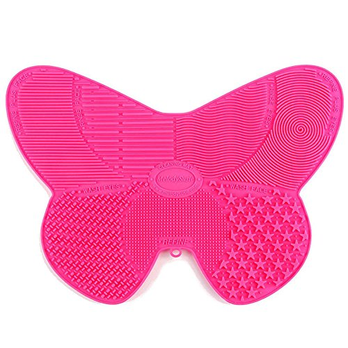 Makeup Brush Cleaning Mat, Cosmetic Brush Cleaner Tool with suction cups and 7 Cleaning Patterns in Butterfly Shape (Rose - Shape Butterfly Of A