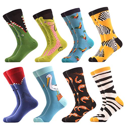 WeciBor Men's Dress Cool Colorful Fancy Novelty Funny Casual Combed Cotton Crew Socks Pack (058-51)]()