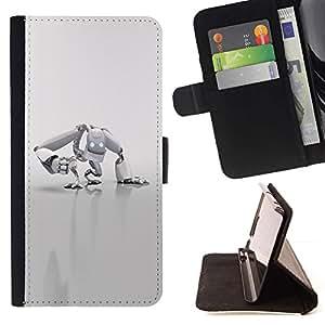 For Samsung Galaxy A3 Case , Robot Blanca- la tarjeta de Crédito Slots PU Funda de cuero Monedero caso cubierta de piel