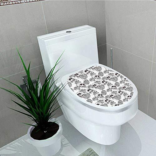 Printsonne Bathroom Toilet Blooms Retro Otherworld Textured Western Celtic Halloween Horror Vinyl Decal Sticker W12 x L14 -