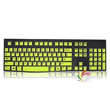 leze - Protector Ultra fino de silicona teclado piel cubierta para los modelos Logitech K120, MK120 - Semi verde: Amazon.es: Electrónica