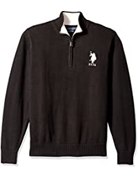 U.S. Polo Assn. Men's Solid 1/4 Zip with Stripe Detail At Neck