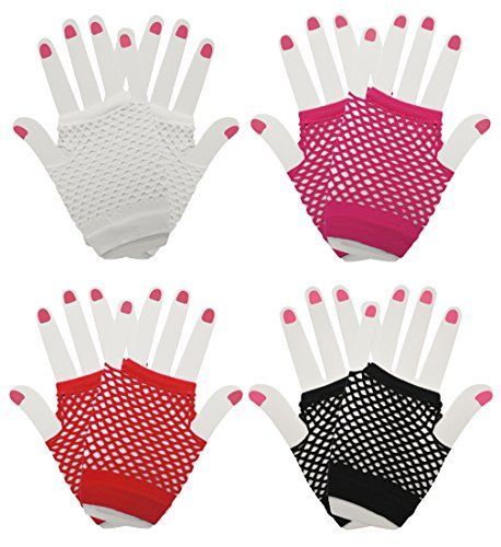 Alternative Halloween Costumes Men (Set of 4 Short Fingerless Fishnet Gloves for Costumes, Halloween, and Parties!)