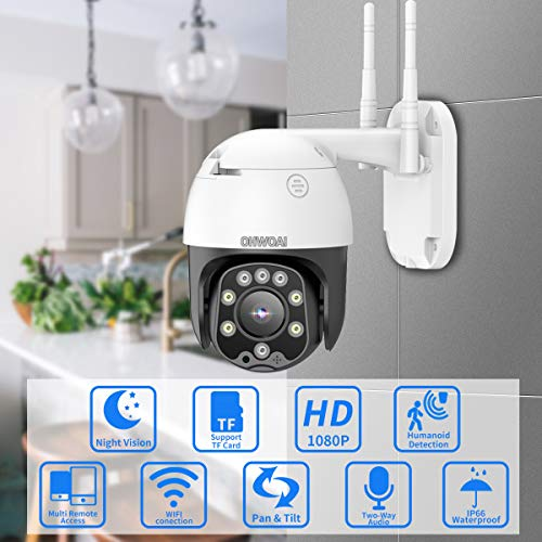 PTZ Camera Outdoor, Wireless Security Dome Camera 1080P, Wi-Fi Pan Tilt CCTV Camera for Home,Indoor Rotating Surveillance Camera,Two-Way Audio,Night Vision,IP66 Waterproof Video Cam.