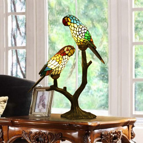Glass Table Lamp Tiffany Parrot Lover 2 Bulbs
