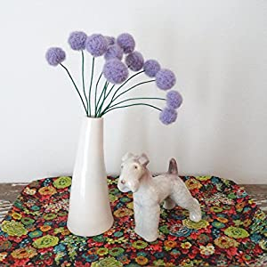 Purple Felt flowers - Lilac Lavender alpaca wool pom poms - Faux craspedia flower bouquet - Felt billy ball floral arrangement - Fuzzy felt balls 14