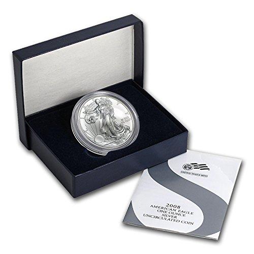 2008 W Burnished Silver American Eagle (Rev '07, w/Box & COA) 1 OZ Brilliant Uncirculated