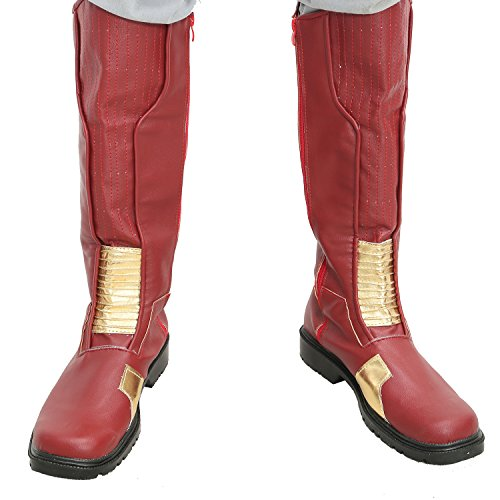 Flash Shoes Superhero Barry Red PU Flash Cosplay Boots Adults Custom Made 44 (The Flash Cw Costume)