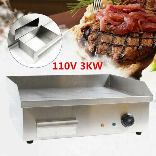"""ZHFEISY Electric Griddles - 3000W Non-Stick Commercial/Home Kitchen BBQ Electric Grill Teppanyaki Hot Plate with Drip Tray & Temperature Control for Indoor/Outdoor Working Area:22""""x14""""【CE Certification】"""