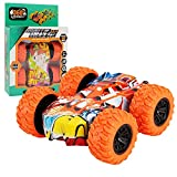 Inertia-Double Side Stunt Graffiti Cars Kids Controlled Truck Off Road Crawler Toy for Boys Girls Birthday Gifts (Orange with Box)