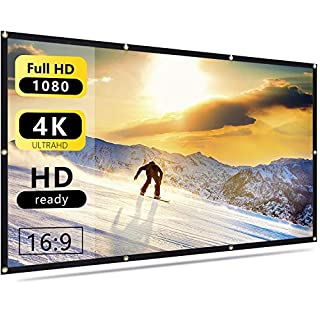 Nell Zimi 60 inch Projector Screen 16:9 HD Foldable Anti-Crease Portable Projection Movies Screen for Home Theater Outdoor Indoor Support Double Sided Projection