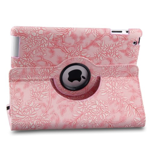 Generic 360 Degrees Rotating Stand New Modern Art Flower Design Series Vegan Leather Cover Fabulous Fancy Upgrade Ultra Luxury Stylish Embossed Flowers Smart Case Cover for Apple iPad mini New iPad Mini iPad mini 2 iPad mini with Retina Display, Supports Automatic Wake and Sleep function