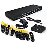 RIJER 8 Port Manual Smart VGA USB KVM Switch PC Computer Selector 1 KM Combo Controls 8 Hosts Extension Switcher original Cable RJ8T01