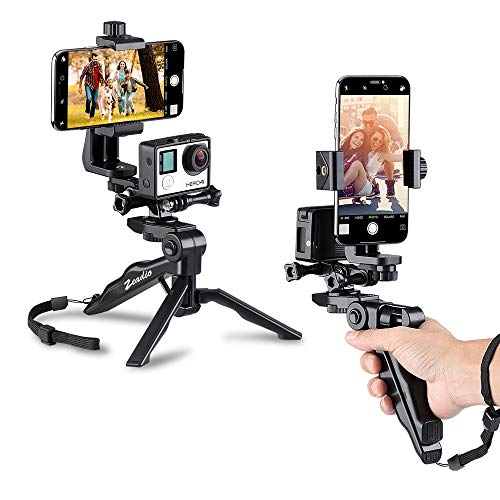 Zeadio Ergonomic Handheld Grip Stabilizer Tripod Selfie Stick Handle Steadycam Kits, Fits for All GoPro and iPhone Samsung and Phones, 2 Angles Shooting Simultaneously