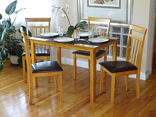 (Rattan Wicker Furniture Dining Kitchen Set of 5 pcs Rectangular Table and 4 Side Warm Chairs Solid Wooden Maple Finish)