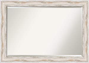 Amanti Art Framed Mirrors for Wall | Alexandria White Wash Mirror for Wall | Solid Wood Wall Mirrors | Large Wall Mirror 41.12 x 29.12 in.