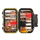 64/100/120PCS Fly Fishing Flies Trout,Dry Flies, Wet Flies, Streamer, Nymph, Emerger , Assorted Fly Fishing Lure with Double Side Waterproof Pocketed Fly Box