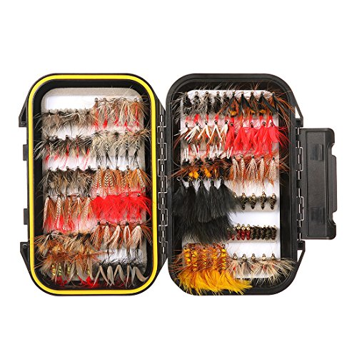 FISHINGSIR 120PCS Fly Fishing Flies Set Assorted Dry/Wet Flies Fly Fishing Lures with Waterproof Fly Box (Best Bluegill Fly Patterns)