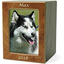 Natural Wood Wood Pet Photo Cremation Urn - Small Brown Memorial Urns for Ashes - Custom Engraving Included