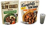 Campbells Slow Cooker Roast Beef Croc Meals Variety Pack. One 13 oz Tavern Style Pot Roast and One 12 oz Beef Stew Pouches. Easy to Prepare Healthy Family Dinners. Includes 4 oz Morton Salt Shaker.