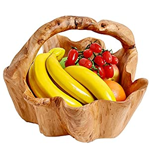 WELLAND Root Wood Crafts Basket w/Handle for Fruit Vegetable Food Display, Large Size, Natural