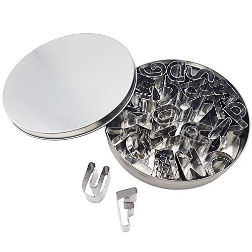 Kanntie Alphabet Cookie Cutter Set (A-Z) - 26 Piece - Premium Stainless Steel (Cutout Alphabet)