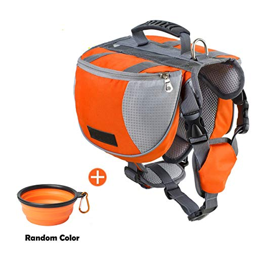 schnappy Dog Pack Travel Camping Hiking Backpack Saddle Bag for Small & Medium & Large Dogs (Orange, M)