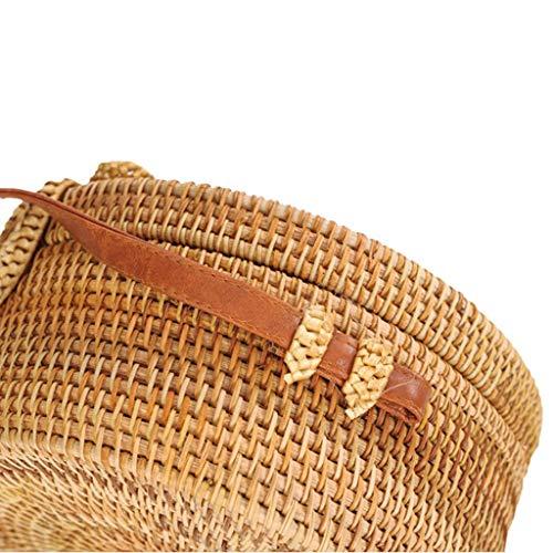 Women's Bag, Rattan Bag - Mesh - Open Beach Bag - Round Crossbody Bag - Lined - Vintage Floral Bag by BHM (Image #3)