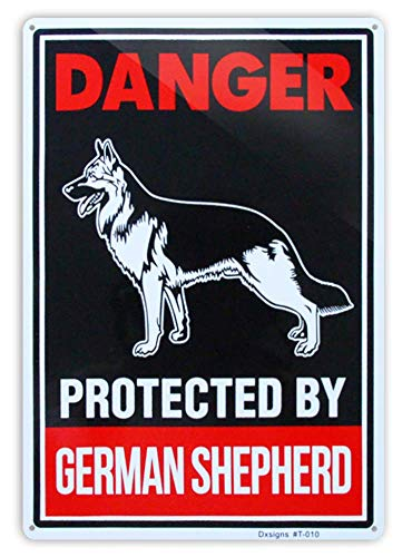 Beware of German Shepherd Sign,Large Beware of Dog Sign Reflective 10x14 inch Rust Free 30 mil Thick Aluminum,UV Printed Weather Resistant Ink,Easy to Mount for Fence